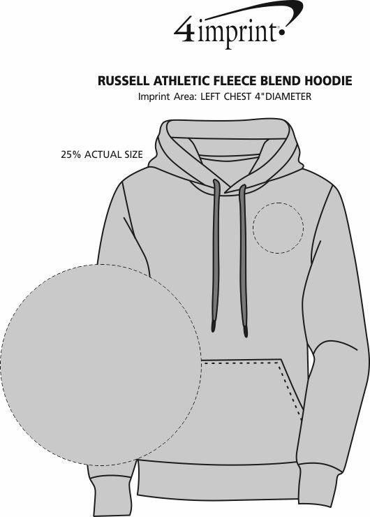 Imprint Area of Russell Athletic Fleece Blend Hoodie