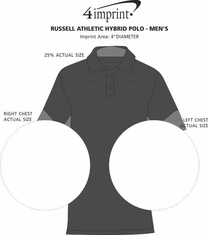 Imprint Area of Russell Athletic Hybrid Polo - Men's