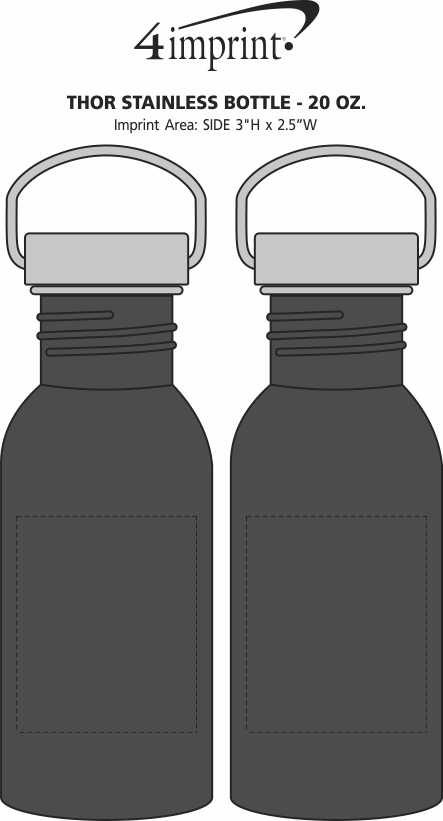 Imprint Area of Thor Stainless Bottle - 20 oz.