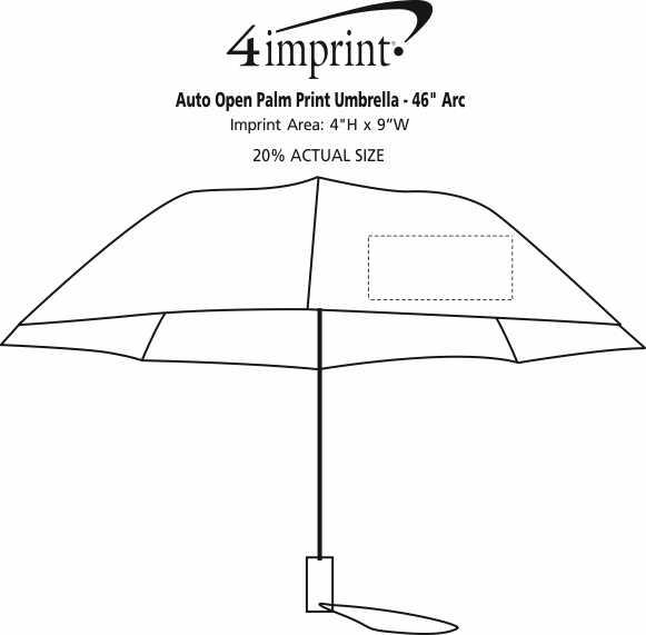 "Imprint Area of Auto Open Palm Print Umbrella - 46"" Arc"