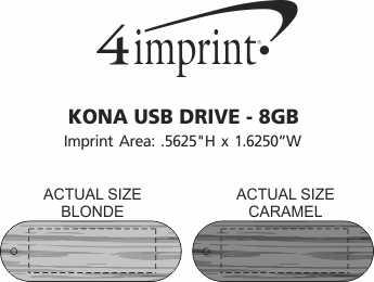 Imprint Area of Kona USB Drive - 8GB