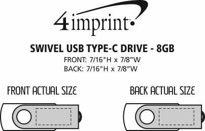 Imprint Area of Swivel USB-C Drive - 8GB