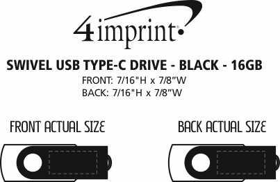 Imprint Area of Swivel USB-C Drive - Black - 16GB