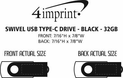 Imprint Area of Swivel USB-C Drive - Black - 32GB