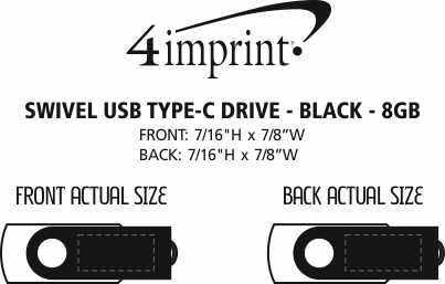 Imprint Area of Swivel USB-C Drive - Black - 8GB