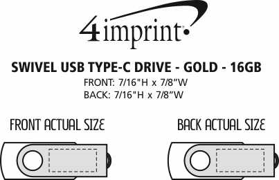 Imprint Area of Swivel USB-C Drive - Gold - 16GB