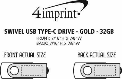 Imprint Area of Swivel USB-C Drive - Gold - 32GB