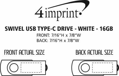Imprint Area of Swivel USB-C Drive - White - 16GB
