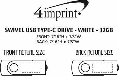 Imprint Area of Swivel USB-C Drive - White - 32GB