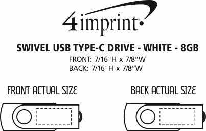 Imprint Area of Swivel USB-C Drive - White - 8GB