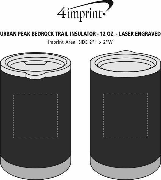 Imprint Area of Urban Peak Bedrock Trail Insulator - 12 oz. - Laser Engraved