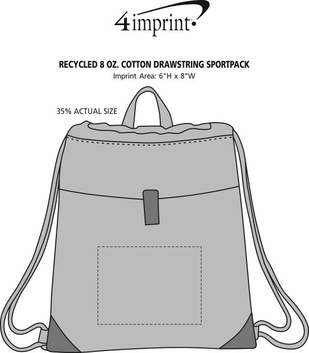 Imprint Area of Recycled 8 oz. Cotton Drawstring Sportpack