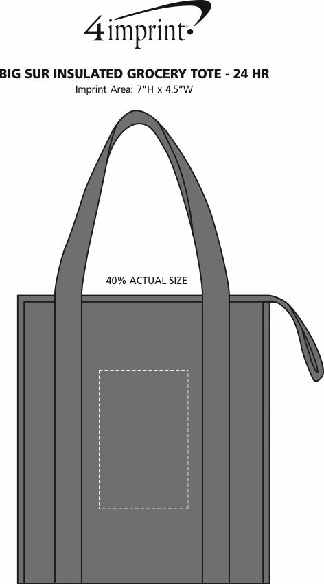 Imprint Area of Big Sur Insulated Grocery Tote - 24 hr