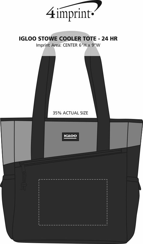 Imprint Area of Igloo Stowe Cooler Tote - 24 hr