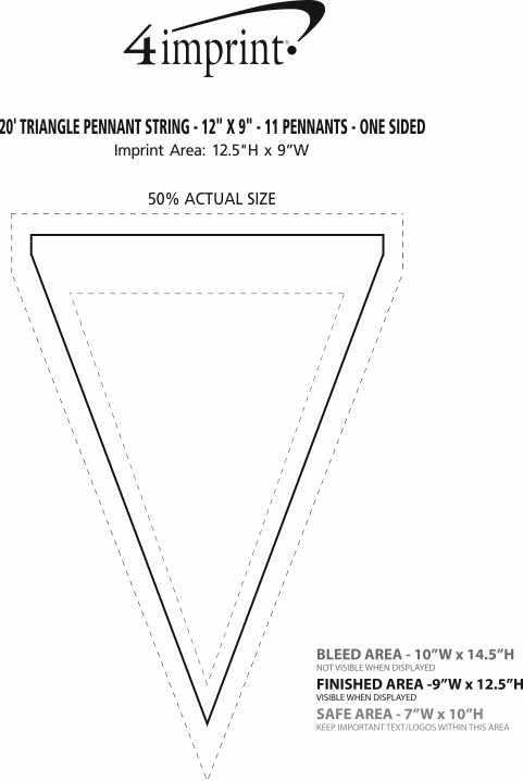 """Imprint Area of 20' Triangle Pennant String - 12"""" x 9"""" - 11 Pennants - One Sided"""