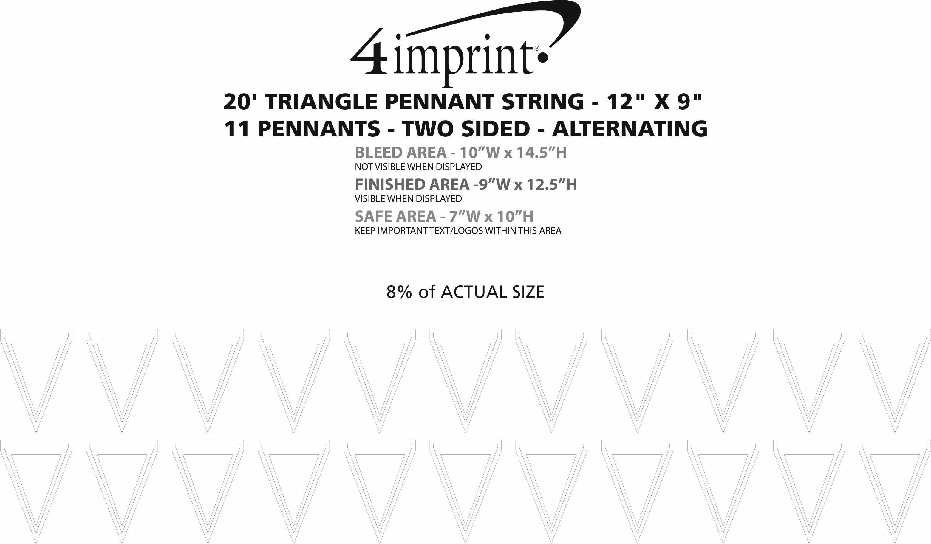"""Imprint Area of 20' Triangle Pennant String - 12"""" x 9"""" - 11 Pennants - Two Sided - Alternating"""