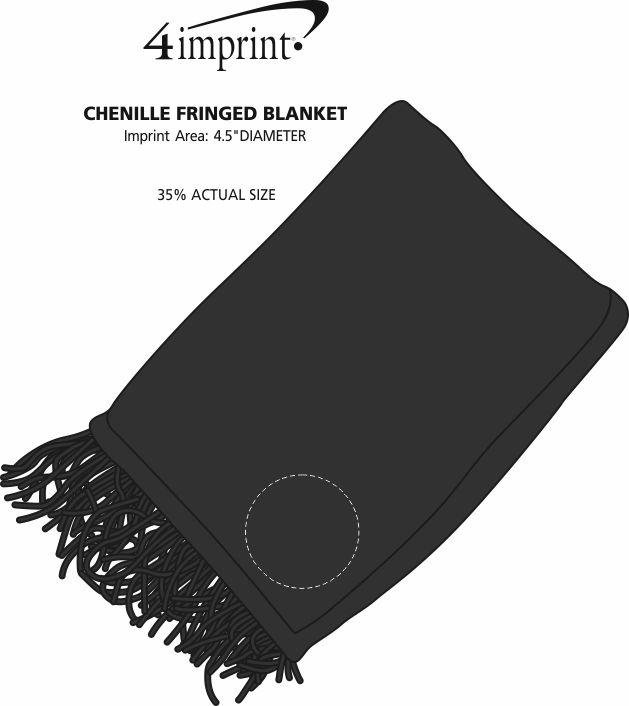 Imprint Area of Chenille Fringed Blanket