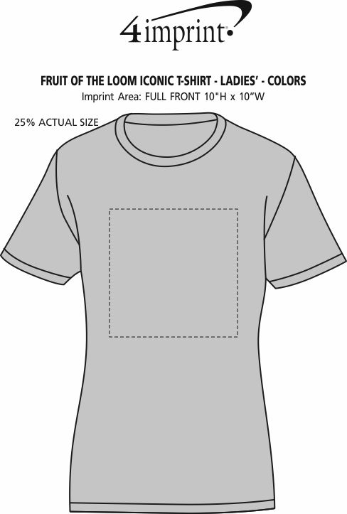 Imprint Area of Fruit of the Loom Iconic T-Shirt - Ladies' - Colors