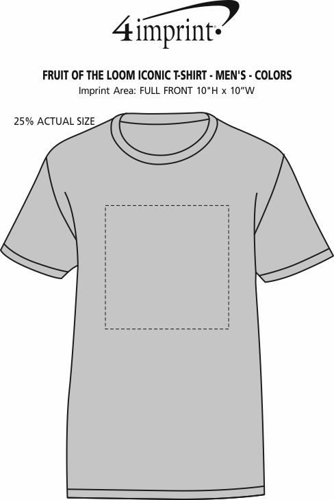 Imprint Area of Fruit of the Loom Iconic T-Shirt - Men's - Colors