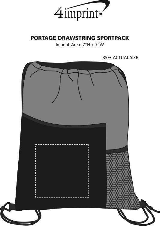 Imprint Area of Portage Drawstring Sportpack