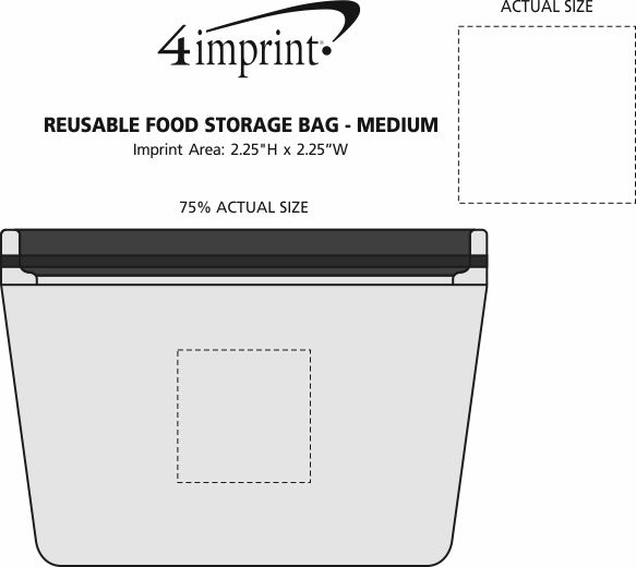 Imprint Area of Reusable Food Storage Bag - Medium