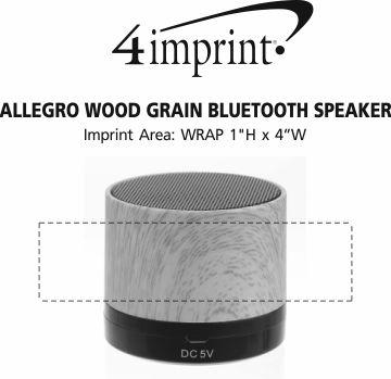 Imprint Area of Allegro Wood Grain Bluetooth Speaker