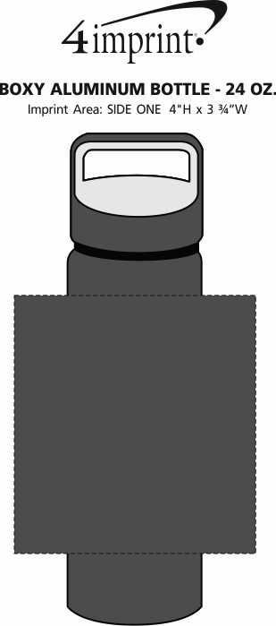 Imprint Area of Boxy Aluminum Bottle - 24 oz.