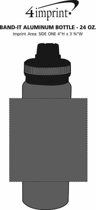 Imprint Area of Band-it Aluminum Bottle - 24 oz.