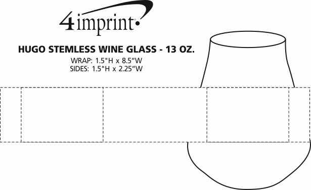 Imprint Area of Hugo Stemless Wine Glass - 13 oz.