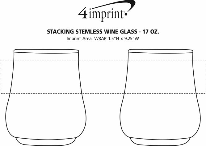 Imprint Area of Stacking Stemless Wine Glass - 17 oz.