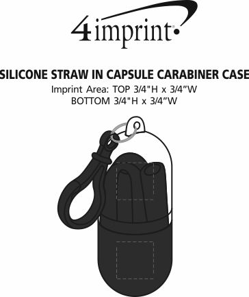 Imprint Area of Silicone Straw in Capsule Carabiner Case