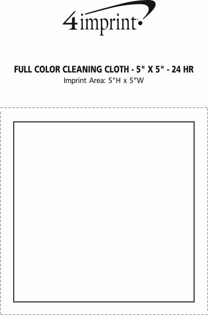"""Imprint Area of Full Color Cleaning Cloth - 5"""" x 5"""" - 24 hr"""