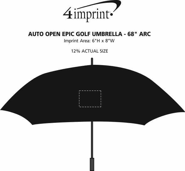 "Imprint Area of Auto Open Epic Golf Umbrella - 68"" Arc"