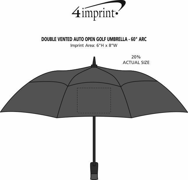 "Imprint Area of Double Vented Auto Open Golf Umbrella - 60"" Arc"