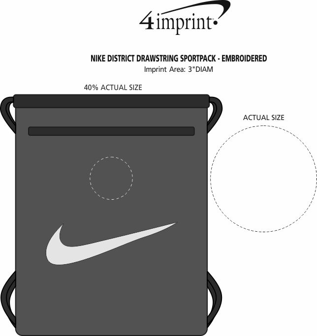 Imprint Area of Nike District Drawstring Sportpack - Embroidered