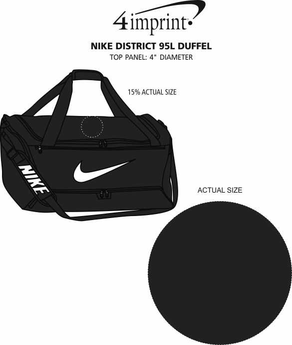 Imprint Area of Nike District 95L Duffel