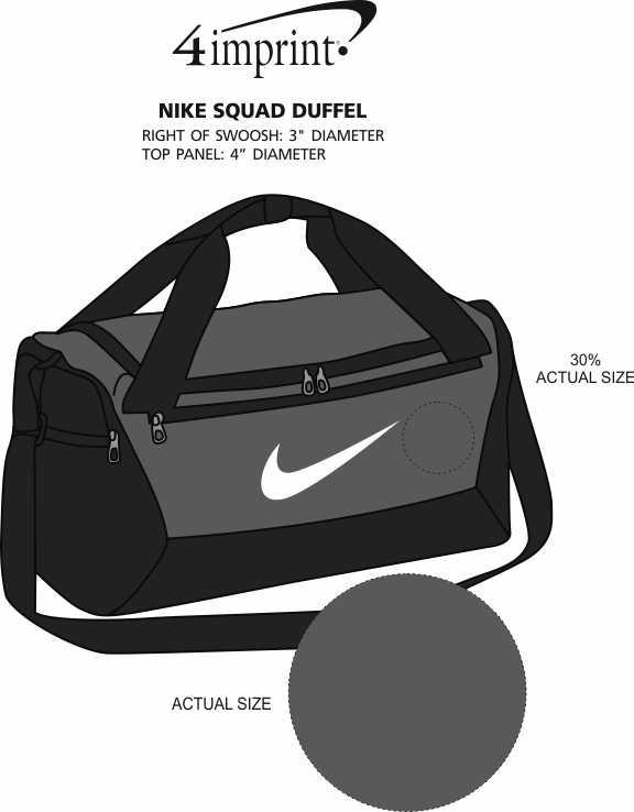 Imprint Area of Nike Squad Duffel