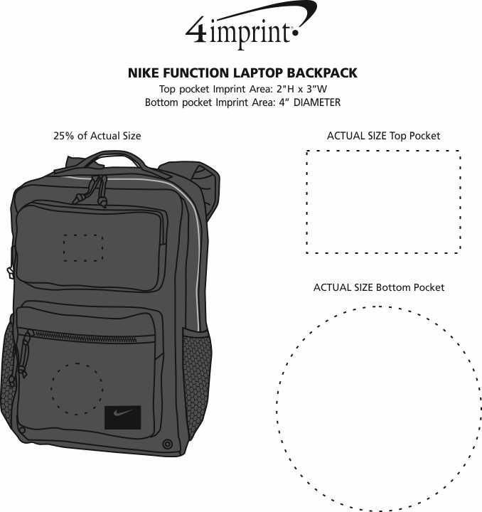 Imprint Area of Nike Function Laptop Backpack