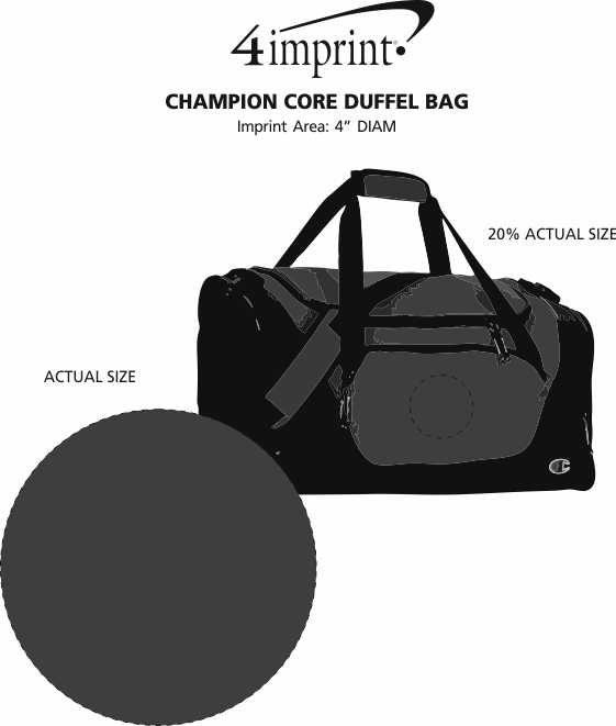 Imprint Area of Champion Core Duffel Bag