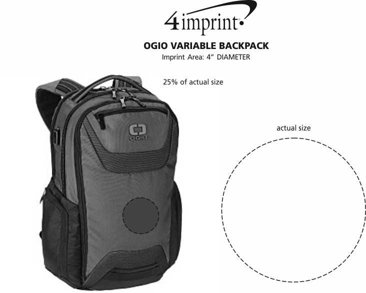 Imprint Area of Ogio Variable Backpack