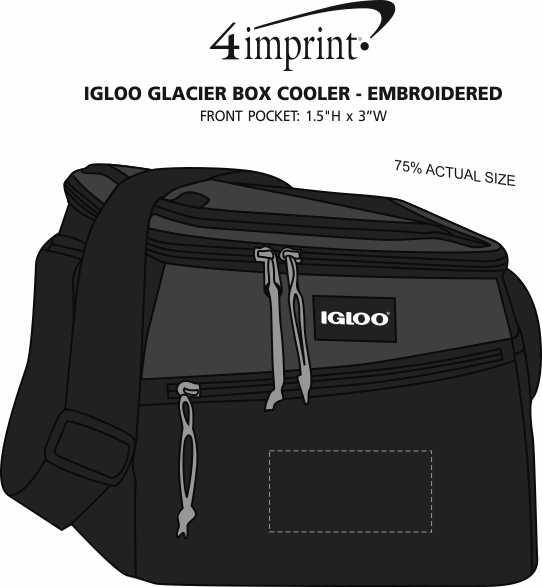 Imprint Area of Igloo Glacier Box Cooler - Embroidered