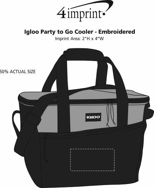 Imprint Area of Igloo Party to Go Cooler - Embroidered
