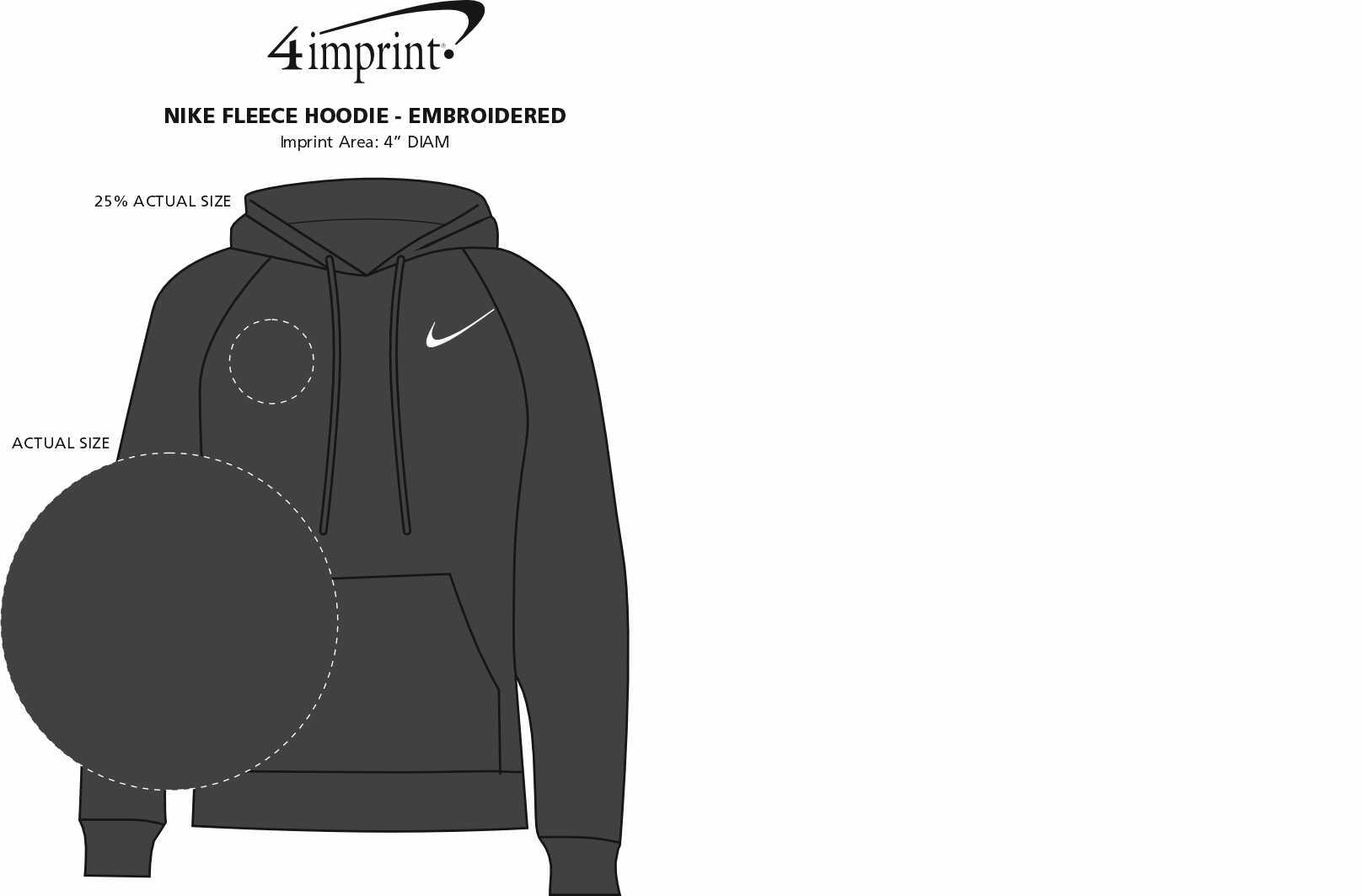 Imprint Area of Nike Fleece Hoodie - Embroidered