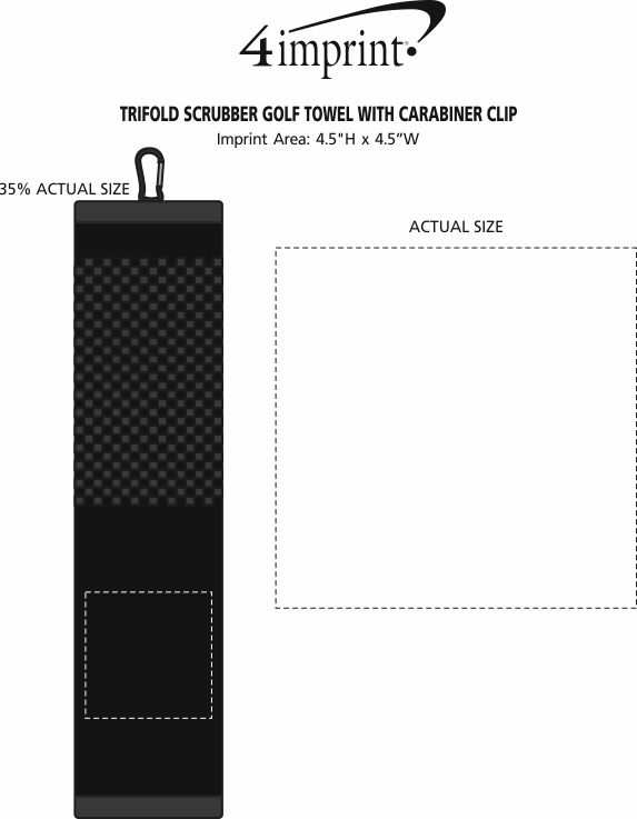 Imprint Area of Trifold Scrubber Golf Towel with Carabiner Clip