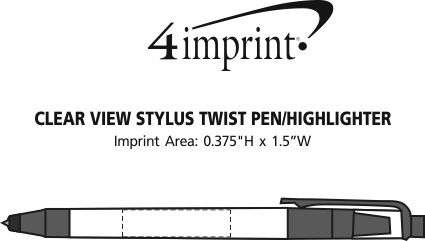 Imprint Area of Clear View Stylus Twist Pen/Highlighter