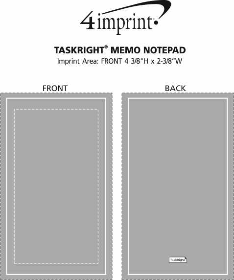 Imprint Area of TaskRight Memo Notepad