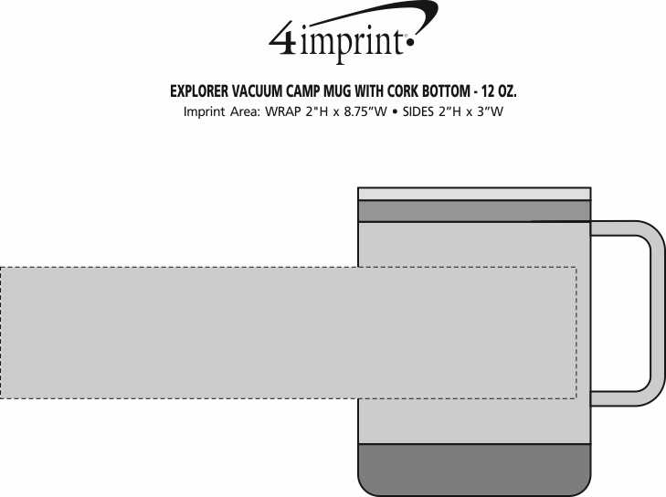 Imprint Area of Explorer Vacuum Camp Mug with Cork Bottom - 12 oz.