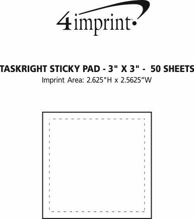 "Imprint Area of TaskRight Sticky Pad - 3"" x 3"" - 50 Sheet"
