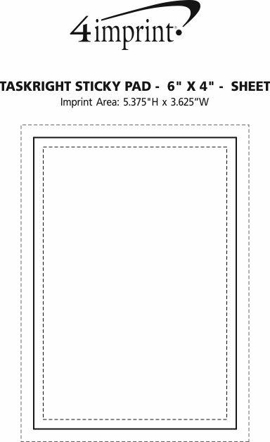 "Imprint Area of TaskRight Sticky Pad -  6"" x 4"" - 25 Sheet"