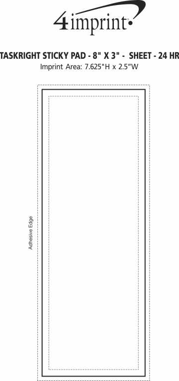 "Imprint Area of TaskRight Sticky Pad - 8"" x 3"" - 25 Sheet - 24 hr"
